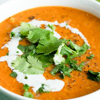 Up close shot of lentil curry soup